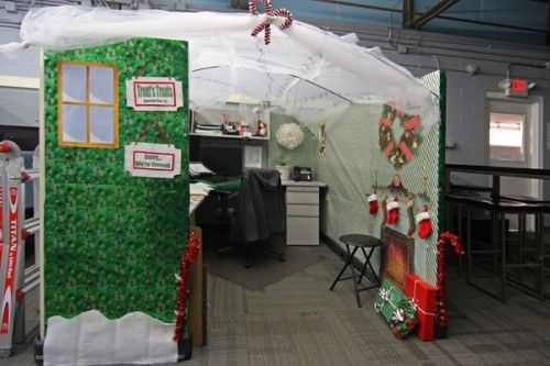 Office Christmas Cube Decorating Ideas Cubicle Contess 5 500x333 Contests