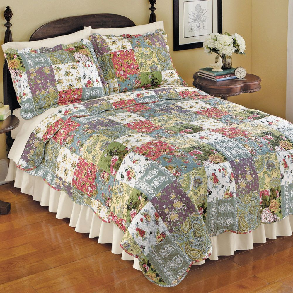 Country Spring Summer Floral Blossom Patchwork Quilt Shams Twin Full Queen King Unknown Country Bed Spreads Quilt Bedding Queen Bedding Sets