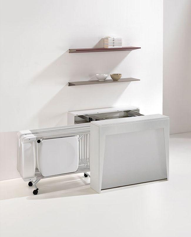 Console Extensible Avec Allonges Et 6 Chaises Pliantes Integrees Pedro Plus Console Extensible Chaise Pliante Systeme De Rangement