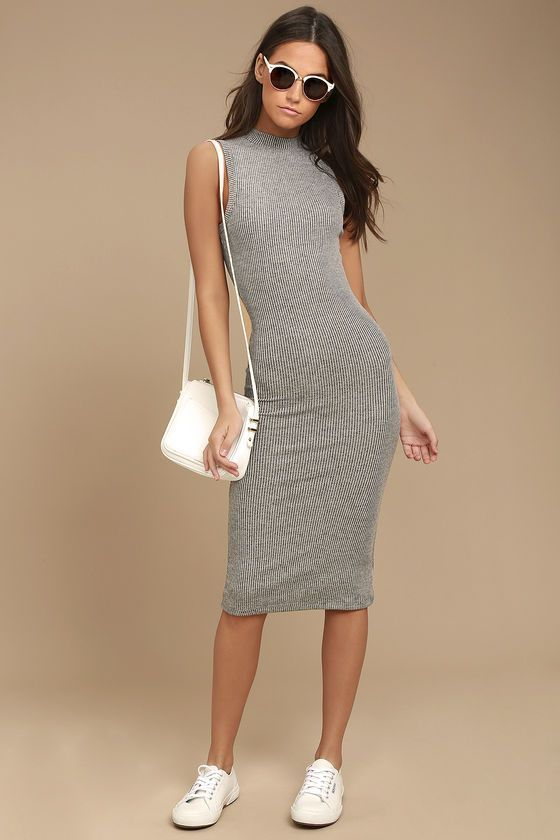 2eeb858563 Billabong So Soon Grey Ribbed Bodycon Midi Dress in 2019