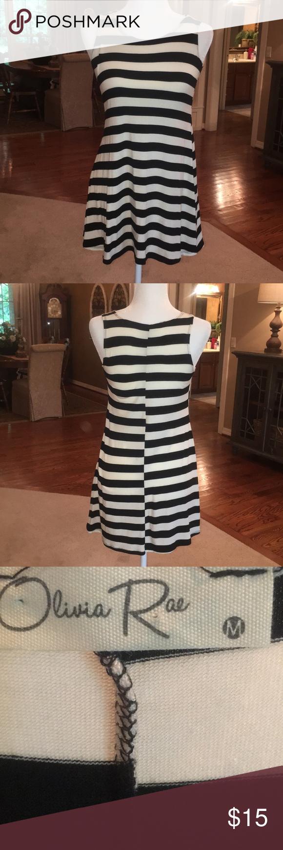Olivia Rae Black And White Striped Dress In Medium Striped Tee Shirt Dress White Striped Dress Green Short Sleeve Dress [ 1740 x 580 Pixel ]