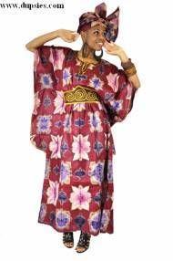 Burgundy African Tie-Dye Dress-DP2850