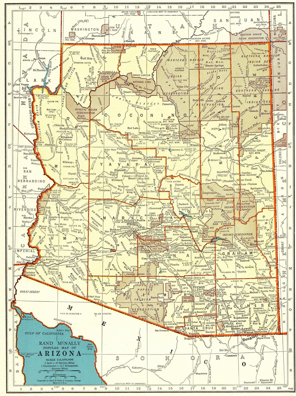 1940 Antique ARIZONA State Map of Arizona Gallery Wall Art Birthday ...