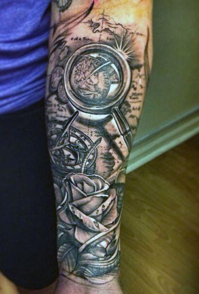 Tatuaże 3d Na Ręce Mapa Tattoos Tatuaże Męskie Tatuaż