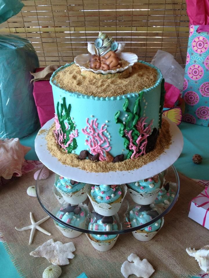 Sea Theme Baby Shower Cake For Twins Baby Shower Cakes Shower Cakes Twin Baby Shower Cake