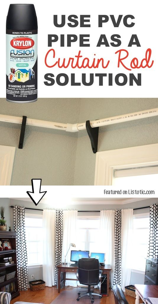 #21. Use PVC pipe to make low-cost curtiain rods! -- 29 Cool Spray Paint Ideas That Will Save You A Ton Of Money #diycurtains