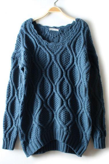 Vintage Blue Twist Knitting Texture Sweater