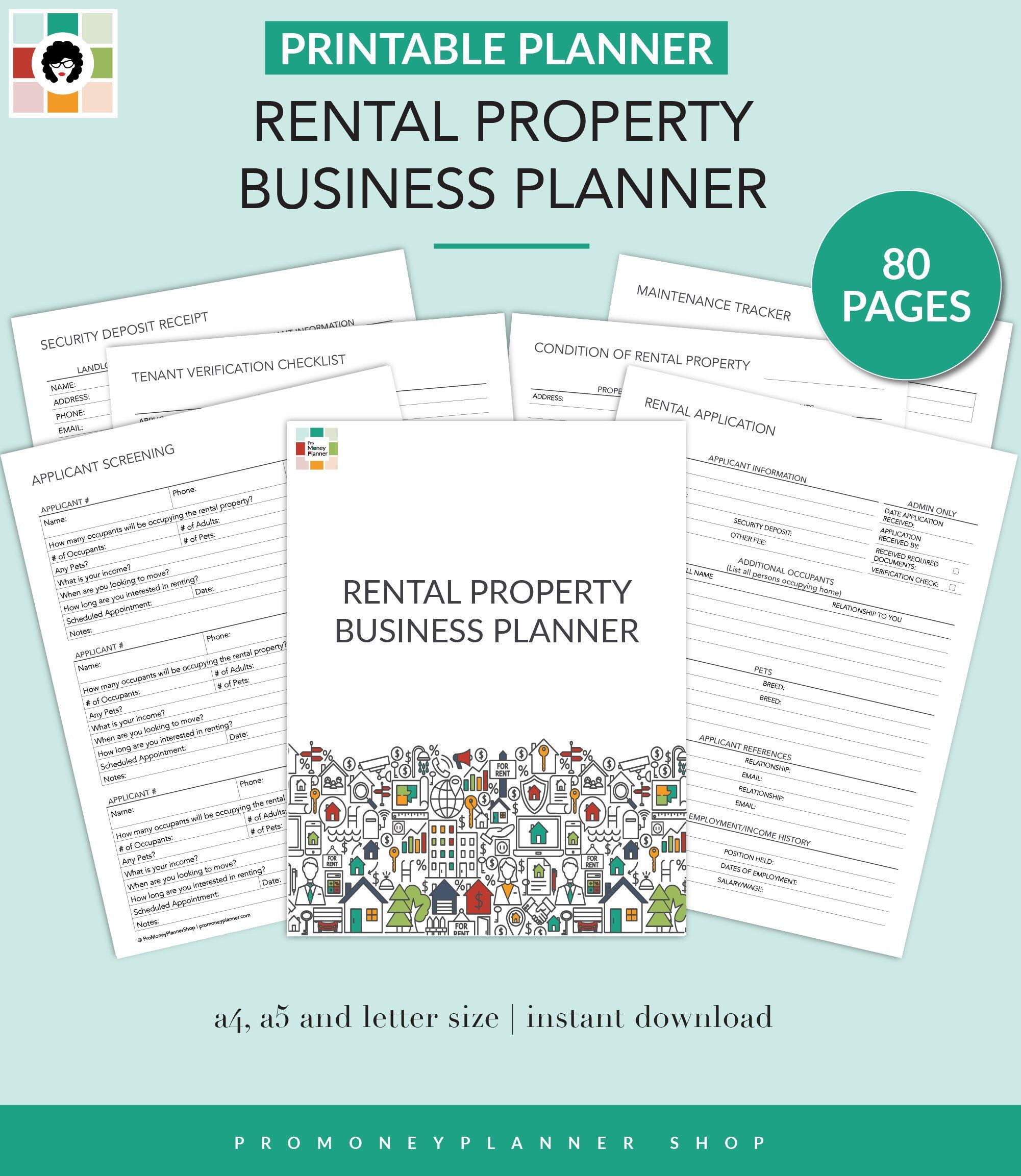 Rental Property Business Planner Printable Pdf Letter Etsy In 2020 Business Planner Printable Planner Being A Landlord