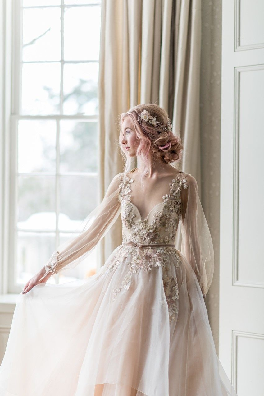 Morning Sky A Dreamy Bridal Inspiration Shoot Wedding Dresses Whimsical Wedding Dresses Blush Blush Wedding Dress