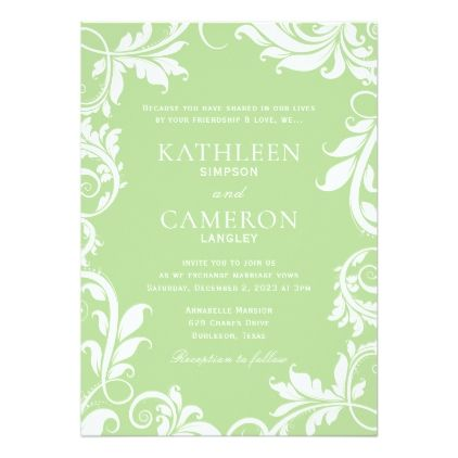 Majestic leaves invitation template pale green stopboris Image collections