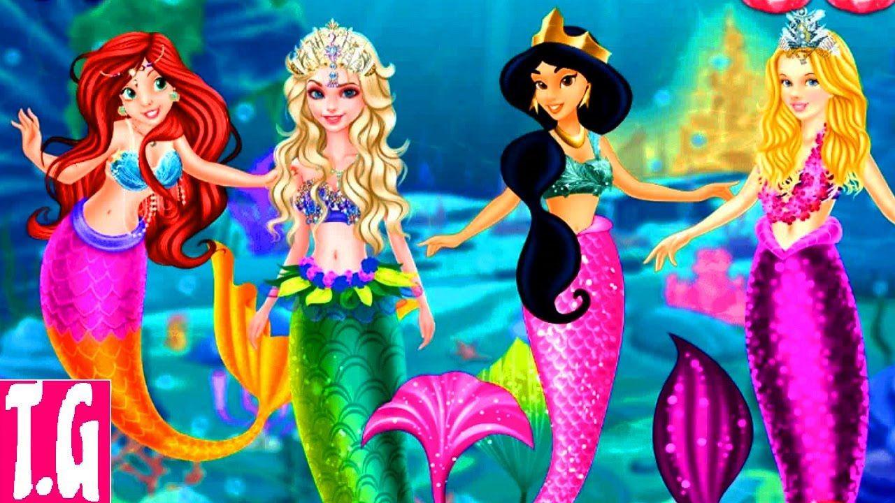 Dress up princess games - Disney Princess Mermaids Elsa Ariel Cinderella And Jasmine Dress Up Game