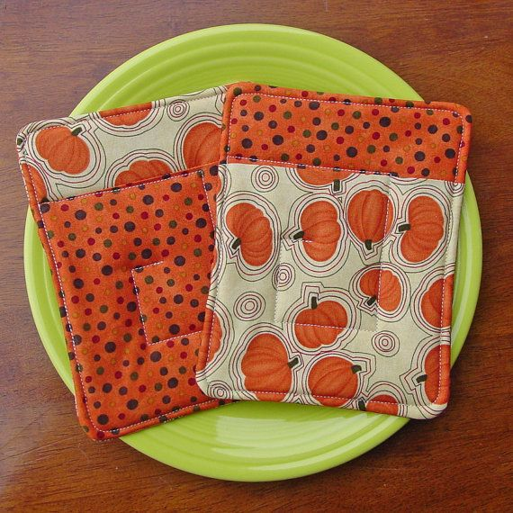 Pot Holders  Autumn Harvest Pumpkin  Two Quilted Hot by CoolTricks, $11.50