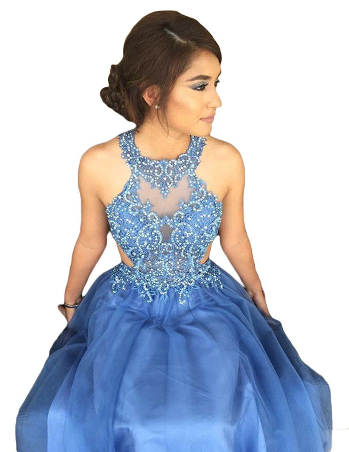 Sogala Halter Neckline Blue Lace Appliques Long Prom Homecoming ...