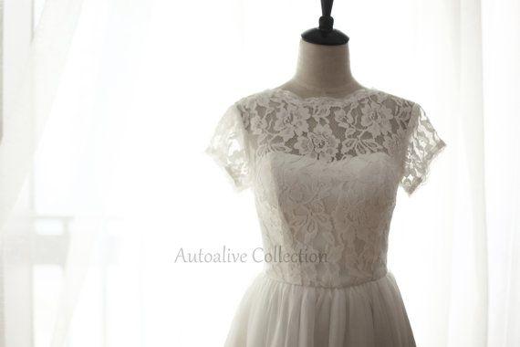 Vintage Inspired Lace Chiffon Wedding Dress/Bridesmaid
