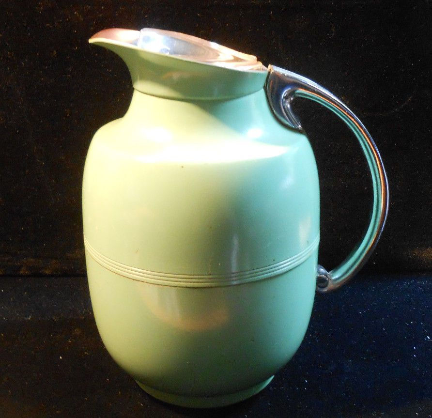 vintage manning bowman art deco green thermos carafe pitcher glass coffee brown sugar social on kitchen decor pitchers carafes id=70373
