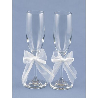 Toast To Your New Marriage In Style With These Simply Sweet Personalized Toasting Flutes Sweetly Accented Satin And Chiffon Bows