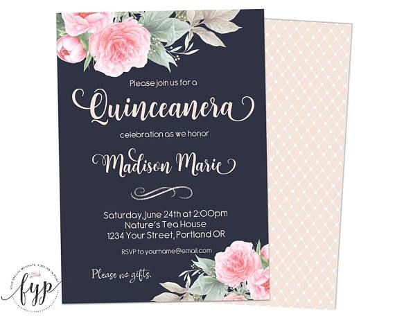 navy quinceanera invitation floral birthday invitation girls 15th