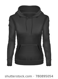 b980848f vector realistic black woman hoodie template mockup. Hooded sweatshirt,  pullover, long sleeve sweater. Female clothing, apparel, illustration  isolated on a ...