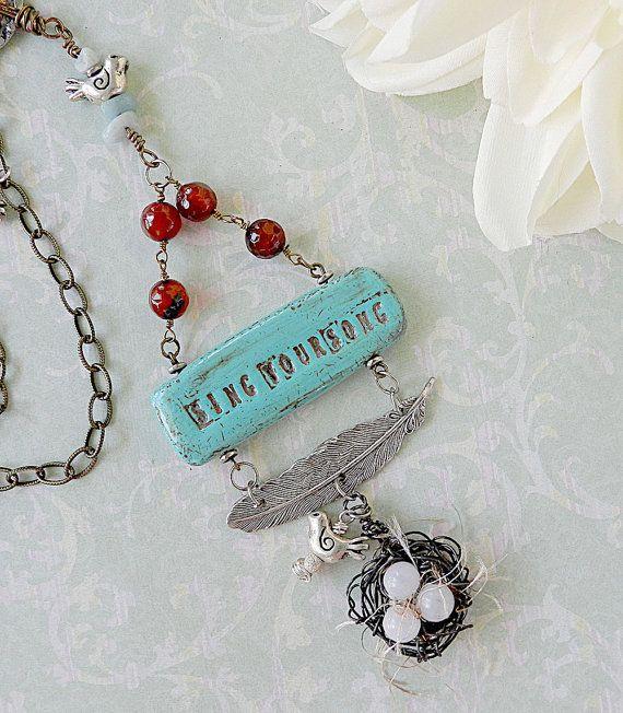Feather Necklace  Bird Nest Necklace  by ShabbyCottageAdorned