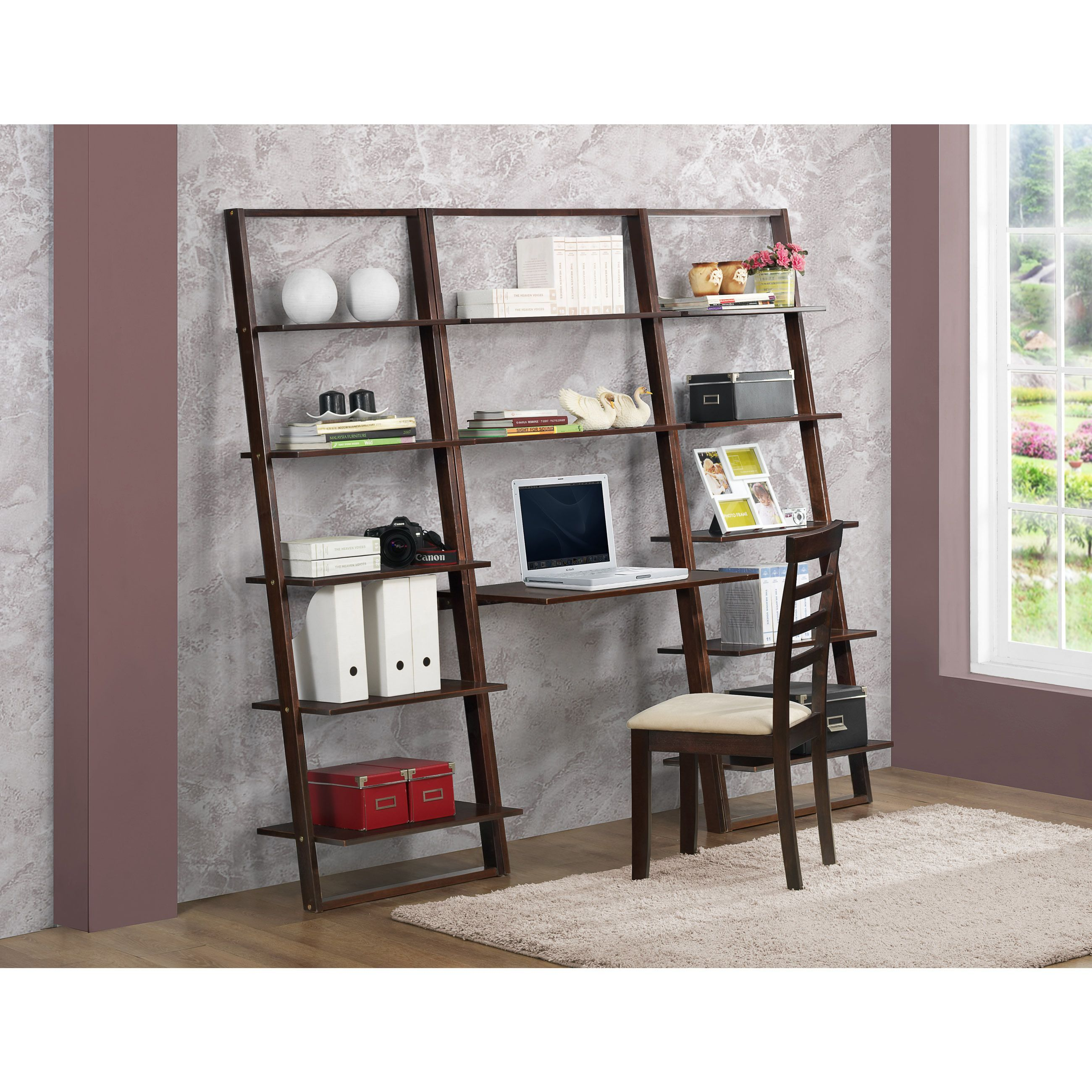 Arlington cappucino wood desk with ladder bookcases arlington