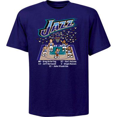 new style ca156 ae650 Utah Jazz NBA Hardwood Classic 8 Bit '98 Starting Five T ...