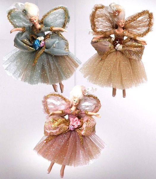 Fairy Christmas Ornaments.Katherine S 2013 Set Six Assort Chantilly Fairy Christmas