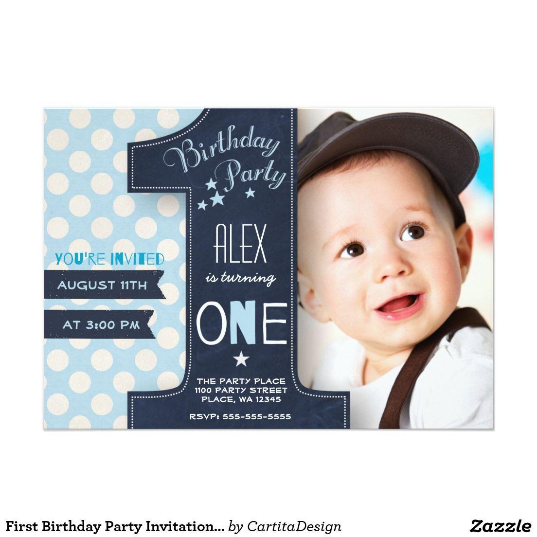 Boy birthday invitation chalkboard invitation custom birthday invitation photo invitation custom printable invite first birthday boy invite