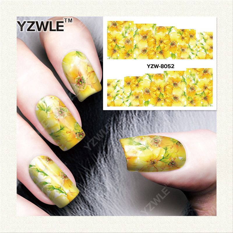 YZWLE 1 Sheet DIY Decals Nails Art Water Transfer Printing Stickers ...