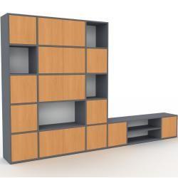 Photo of Wohnwand Anthrazit – Individuelle Designer-Regalwand: Türen in Buche – Hochwertige Materialien – 306