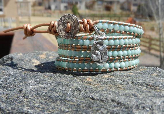 Faceted Amazonite Wrap Bracelet by rowdywear on Etsy