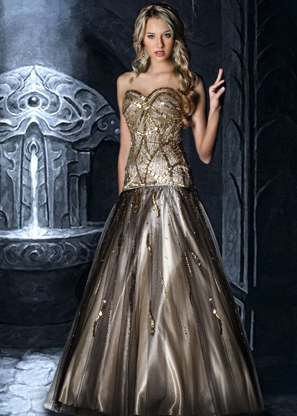 Find Disney Forever Enchanted 35614 black, nude, gold strapless ...