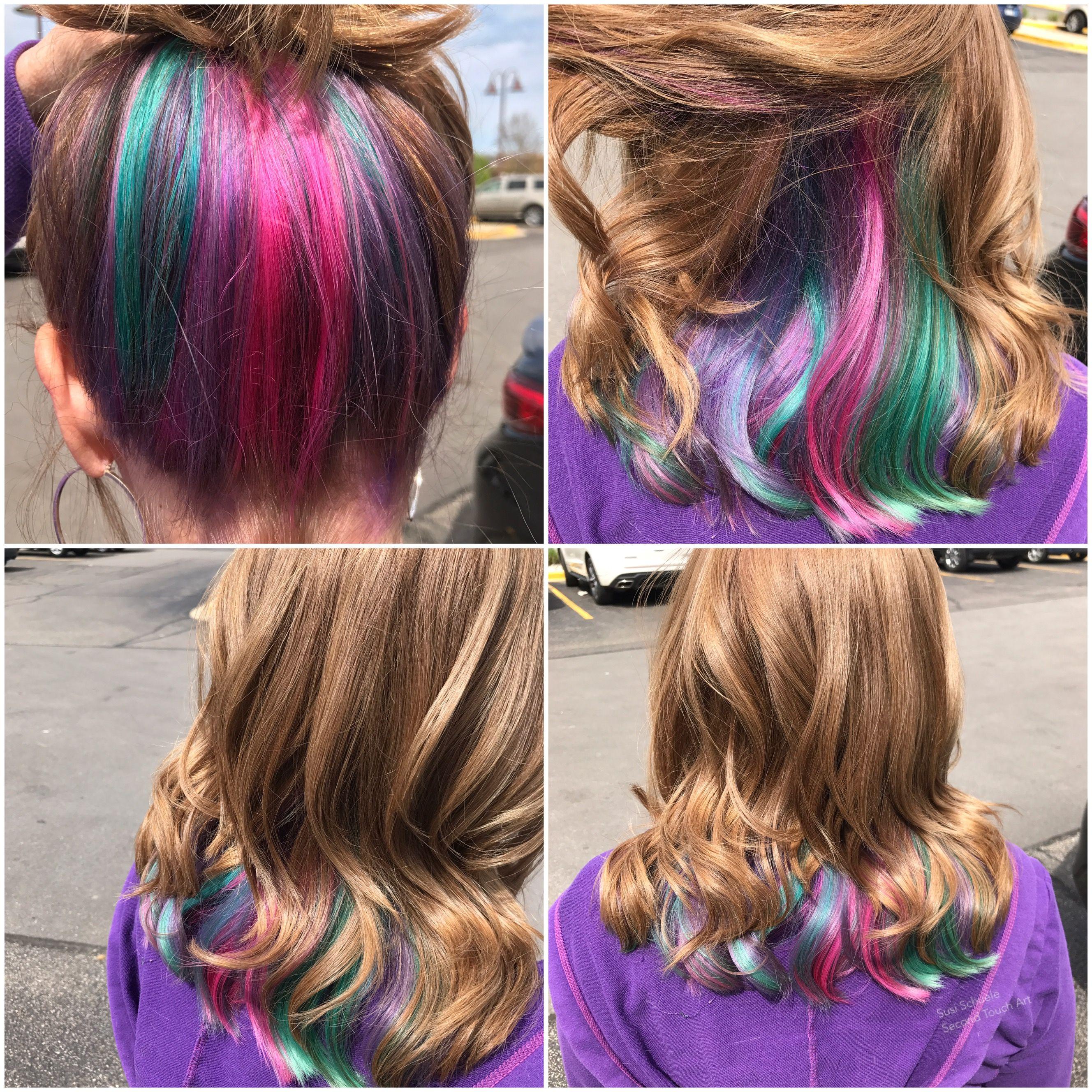 I Did It I M Nearly 64 Hidden Rainbow Hair For Me The Human Unicorn Rockin The Age Thing Kids Hair Color Peekaboo Hair Mermaid Hair Color