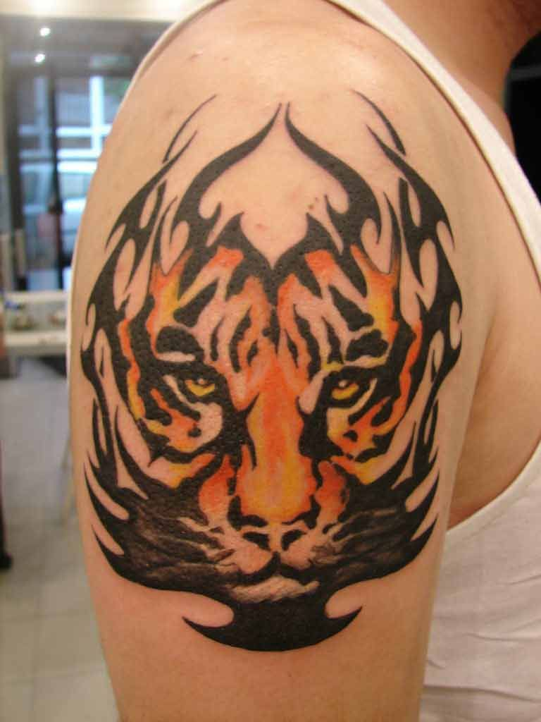 Tribal Fire Tiger Tattoo On Right Arm 3 Tiger Tattoo Design Cool Tribal Tattoos Tribal Tiger Tattoo