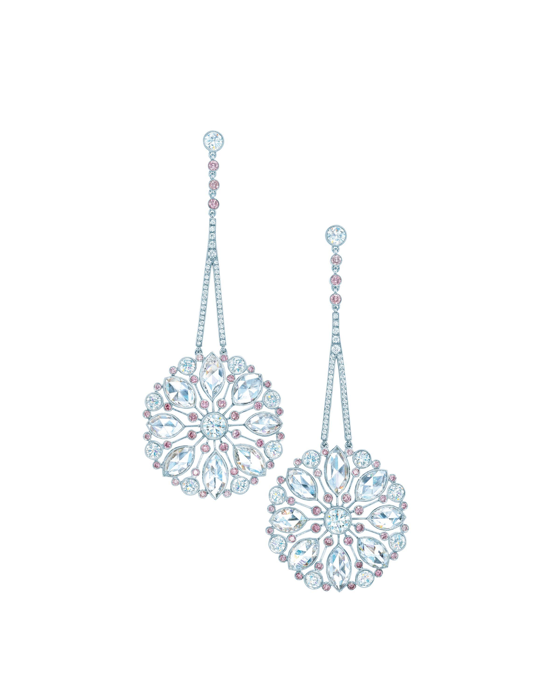 Tiffany Diamond Earrings Tiffany Drop Earrings Of Pink Diamonds And Rosecut  White Diamonds In