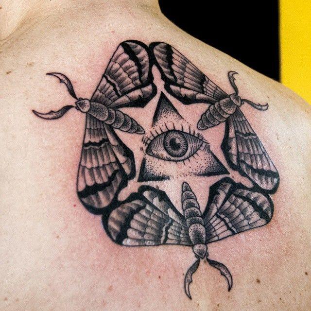 Tattoo artist Dmitry_Mironenko Russia, Sankt-Petersburg mandala tattoo butterfly eye doteork black art, blackworkers, blxckink