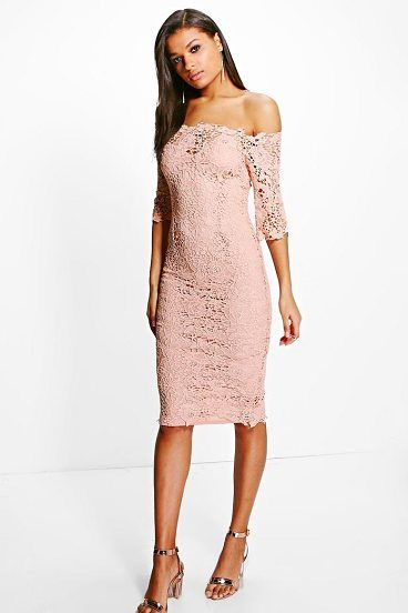 8efbbd6b6614 Boutique Mi Crochet Off Shoulder Midi Dress by Boohoo. Dresses are the most- wanted wardrobe item for day-to-night dressing. From cool-tone whites to  block ...