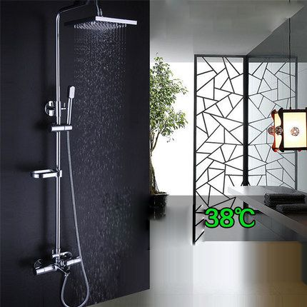 Bathroom Shower Set Brass Chrome Wall Mounted Shower Faucet Shower Head Water Saving Nozzle Aerator Thermostatic Shower Column Shower Taps Bath Shower Mixer Shower Set