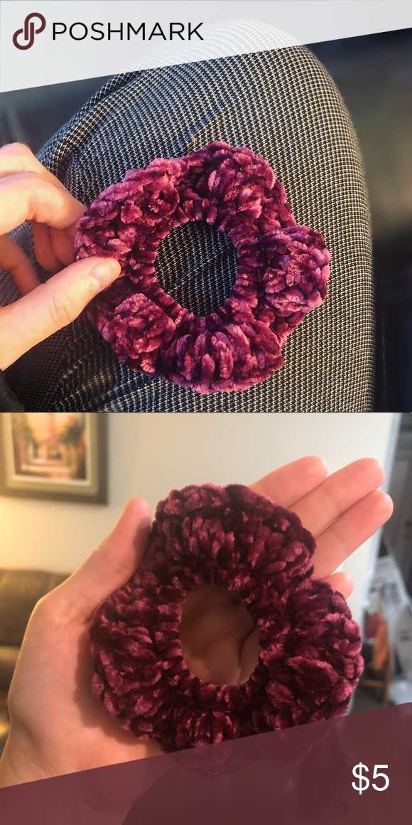 Velvet Hand-Crocheted Scrunchie Super soft! Hand-crocheted with quality chunky velvet yarn, this crazy comfy burgundy scrunchie will have you at the top of your holiday fashion game anywhere you go, from parties to hikes to just cuddling on the couch. Custom made when you order. Buy more to save — 1 for $5, 2/$9 (that's $4.50 each) or 3/$10 (that's $3.33 each)! Accessories Hair Accessories #crochetscrunchies Velvet Hand-Crocheted Scrunchie Super soft! Hand-crocheted with quality chunky vel #crochetscrunchies