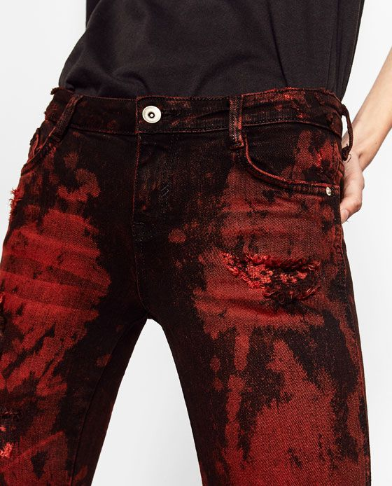 Image 5 of RED BLACK JEANS from Zara | online | Pinterest | All ...