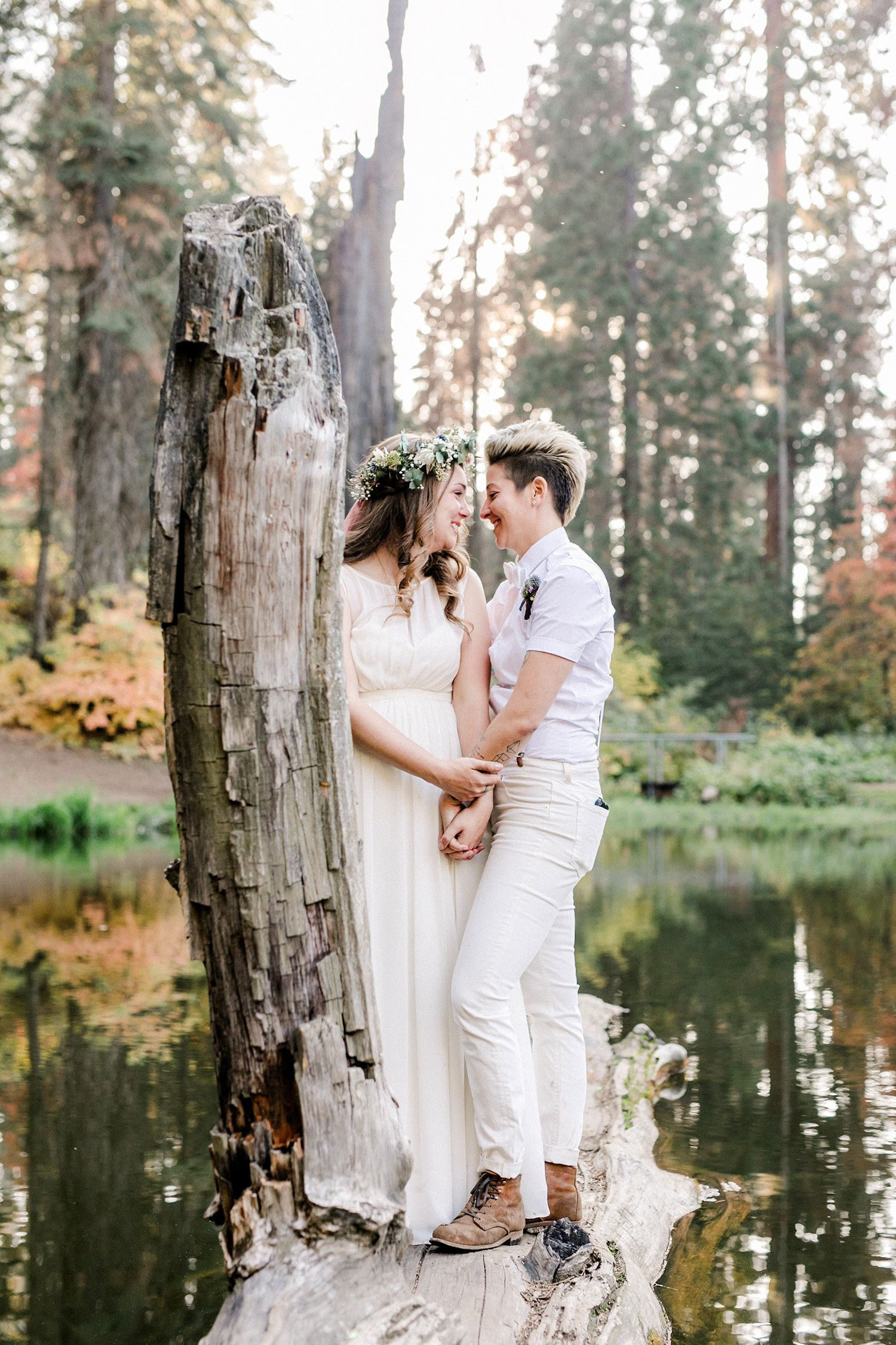 This campthemed california wedding took place beneath a year