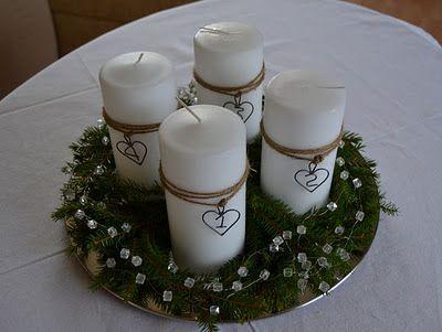 Centro de mesa navideño con velas blancas NAVIDAD Pinterest
