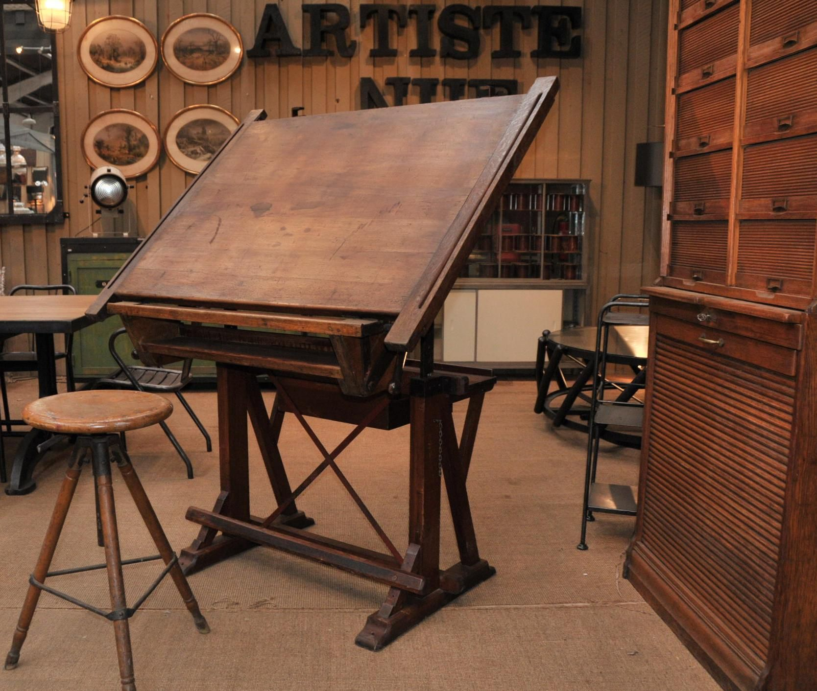 Cool Drafting Table Le Grenier Roubaix France Stock Ancienne Table D