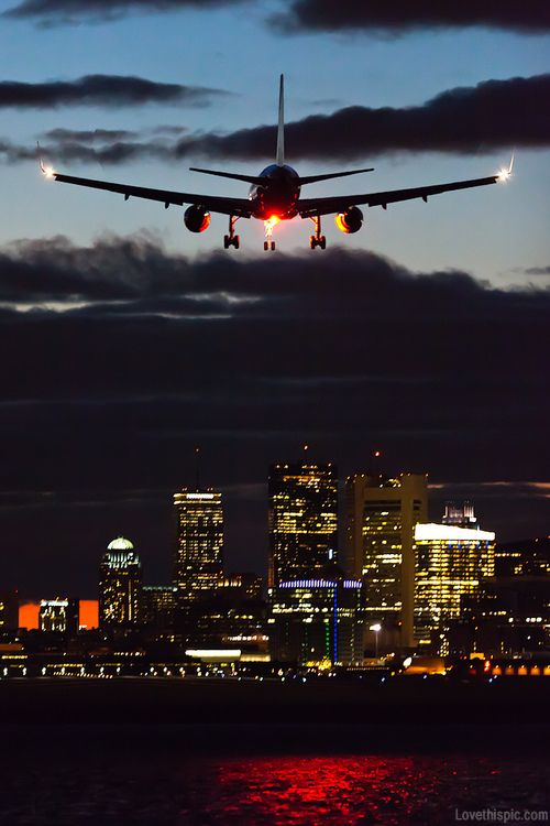Coming In For A Landing Dark Sky Night City Lights Clouds Airplane Travel Photo Air Travel