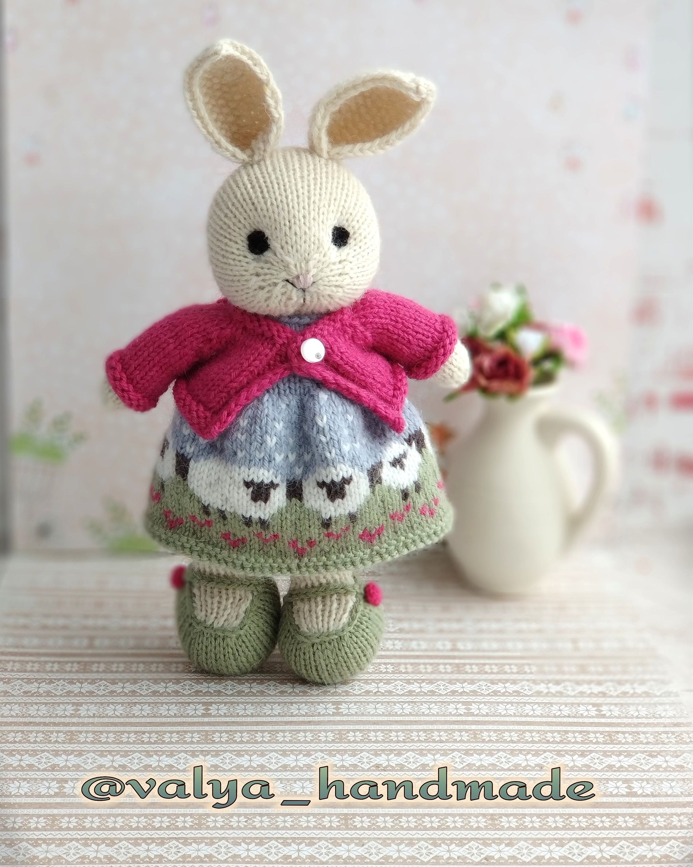 Knitted bunny toy Little cotton rabbit with dress Stuffed animals ...