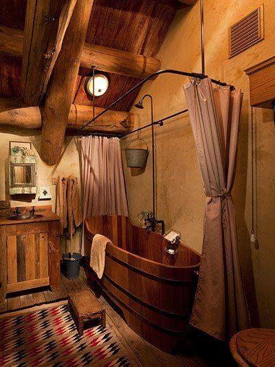 pourquoi pas une baignoire en bois cabin rustic charm and tubs. Black Bedroom Furniture Sets. Home Design Ideas
