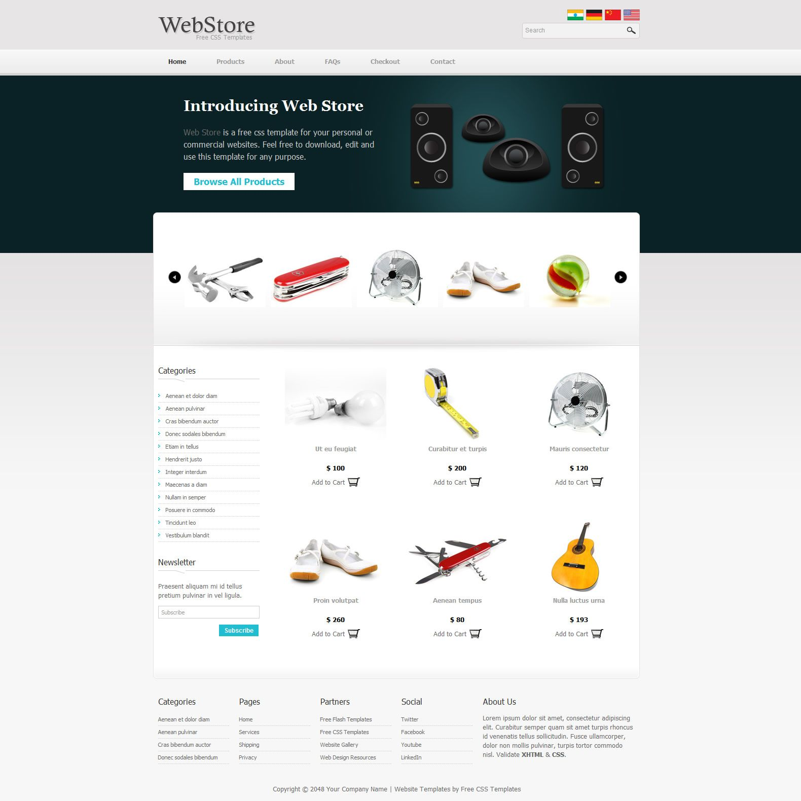 Web Store Is An Ecommerce Template For Any Kind Of CMS Products - Free ecommerce website templates shopping cart