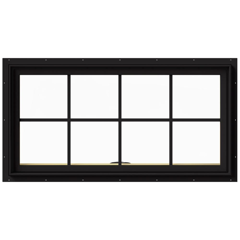 Jeld Wen 48 In X 24 In W 2500 Series Black Painted Clad Wood Awning Window W Natural Interior And Screen Wall Display Case Wall Shelf Decor Display Shelves
