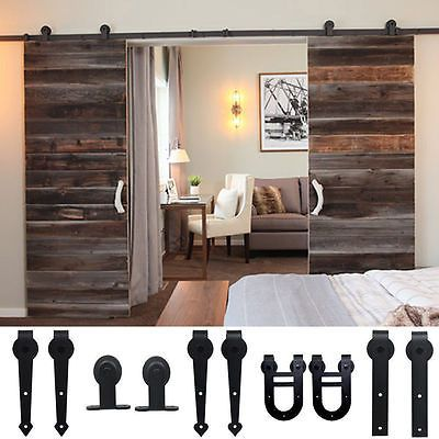 8ft 10ft 12ft Sliding Barn Wood Door Hardware Closet Set Black Or Dark Coffee To With Images Sliding Door Hardware Barn Doors Sliding Indoor Barn Doors