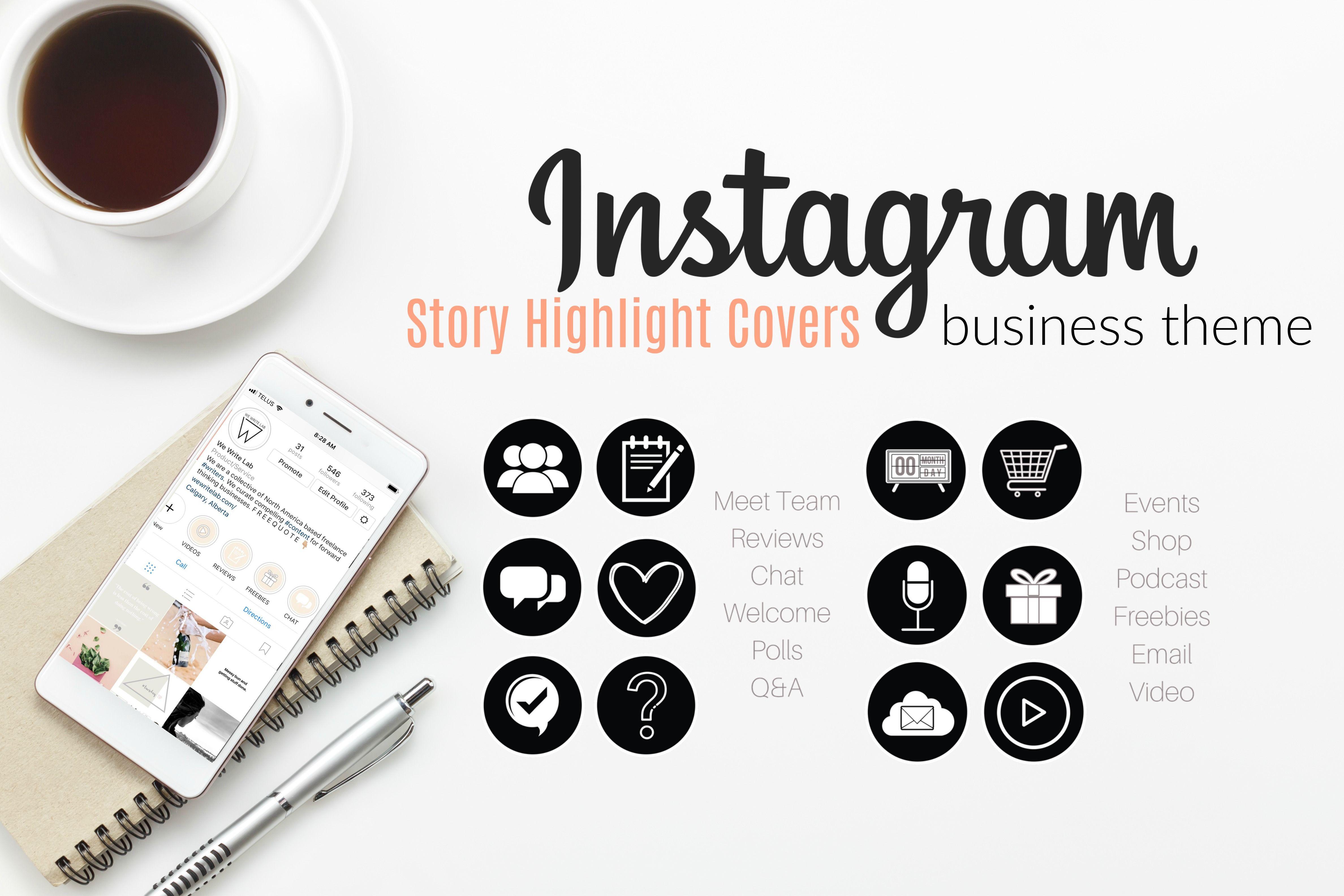 Instagram Story Highlight Icons Cover Pack For Business Black White For Instagram Stories Instagram Story Story Highlights Instagram Highlight Icons