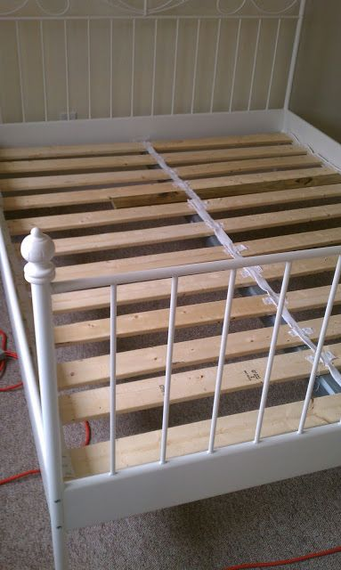 "Cheaply build your own bed slats for ikea bed.  Full bed is 54"" wide."